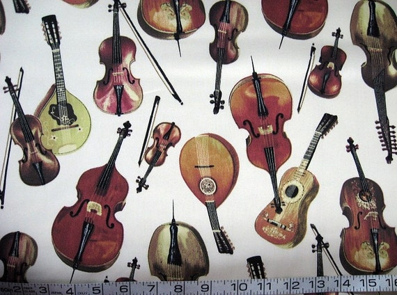 1 yard Music - large string instruments on ivory quilt fabric