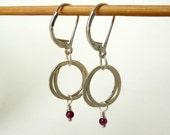 Sterling Silver Garnet Earrings : Wire wrapped Delicate Dangles