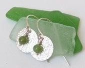 Jade Sterling Silver Earrings Textured Discs Dangle