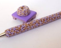 Polymer Clay Pen Set Kaleidoscope Millefiori Purple Beige