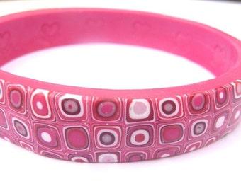 Pink Bracelet Polymer, Pink Valentines Bracelet, Pink Polymer Clay, Polymer Clay Bracelet, Large Bangle, Pink Polymer Bangle, Heart Bangle