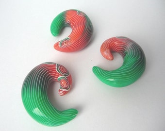 Red Green Beads, Polymer Clay Beads, Spiral Clay Beads, Striped Clay Beads, Green Polymer Beads, Red Polymer Beads, Spiral Green Beads