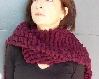 Red Scarf - Burgundy Scarf - Maroon Scarf - Pompom Scarf - Pom Pom Scarf - Red Pompom Scarf - Bobble Scarf - Knit Red Scarf - Long Red Scarf