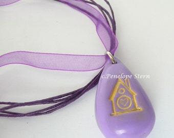 Birdhouse Heart Polymer Clay Pendant : Purple pendant stamped with gold