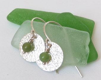 Jade Silver Earrings - Green Jade Earrings - Jade Earrings - Sterling Silver Earrings - Textured Silver Earrings - Silver Disc Earrings