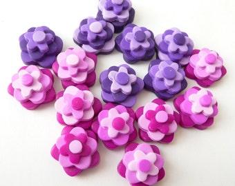 Pink Flower Beads - Purple Flower Beads - Polymer Clay Beads - Flower Beads - Pink Purple Beads - Fimo Flower Beads - Fimo Flower Beads