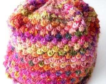 Pink Beanie Girl, Rainbow Hat, Rainbow Beanie, Knit Girl Beanie, Wool Beanie, Pink Wool Beanie, Pink Hat, Toddler Beanie, Pink Beanie