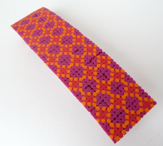 Polymer Clay Hair Barrette Cross Stitch Pattern Patchwork