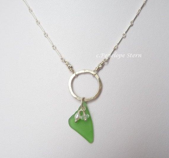 Sterling Silver Necklace : Sea Glass Pearl Aquamarine