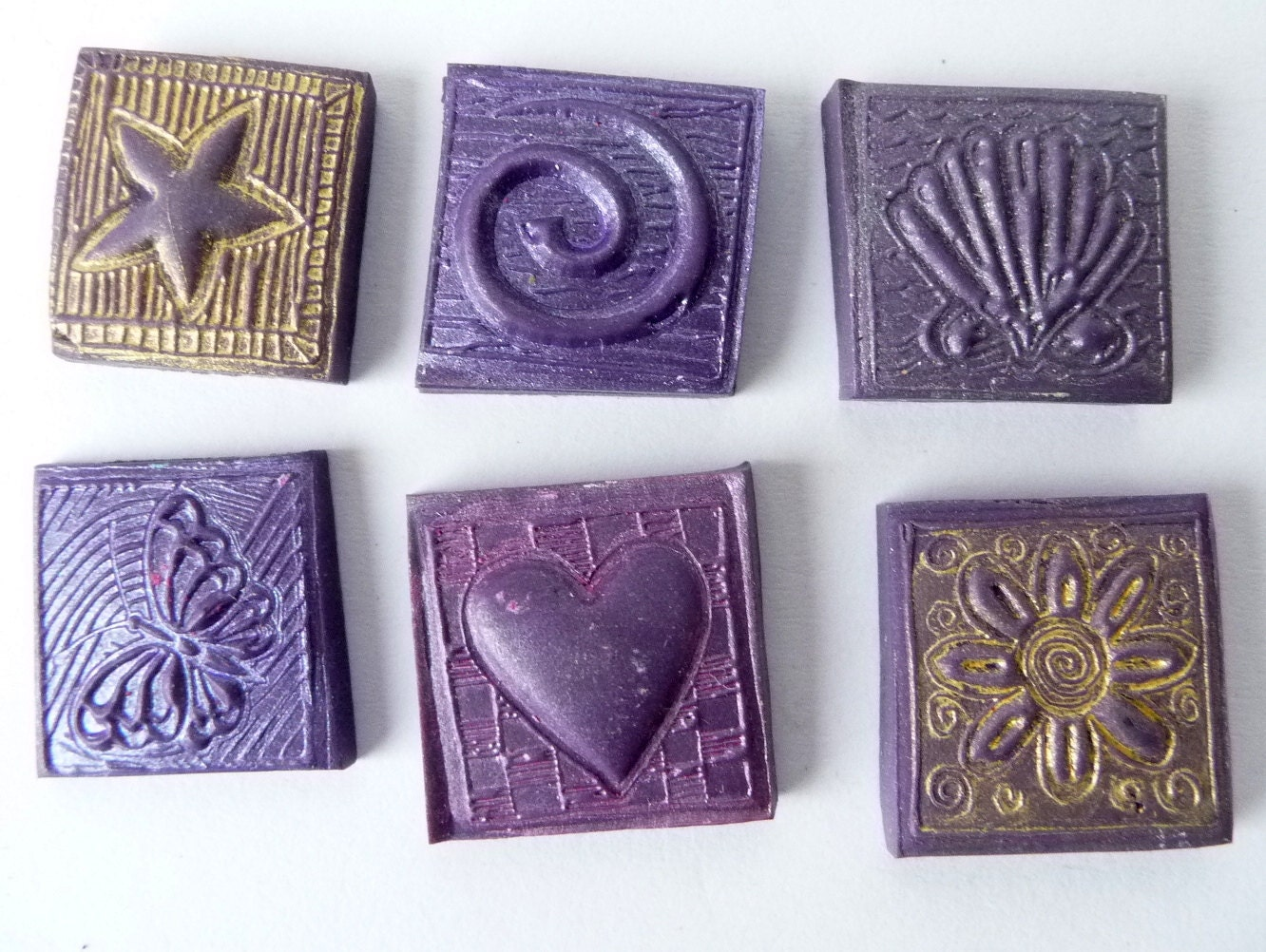 Polymer Clay Mosaic Tiles Fimo Heart Star Shell Butterfly