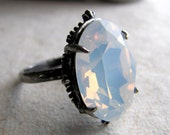 Opal Gothic Ring Snow White Swarovski Crystal