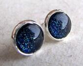 Starry Post Earrings - Starry Night - Navy Blue Glitter Silver Earrings