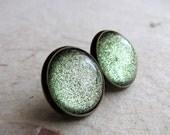 Mint Sparkle 14mm Antiqued Brass Post Earrings