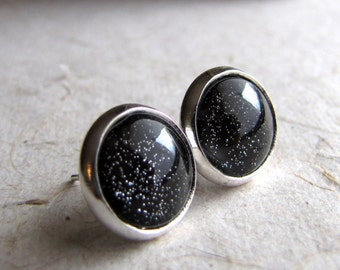 Black Sparkle Earrings - Small Silver Round Posts - Blackest Night