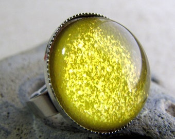 Neon Yellow Ring - Pineapple Crush - Silver Dome Ring