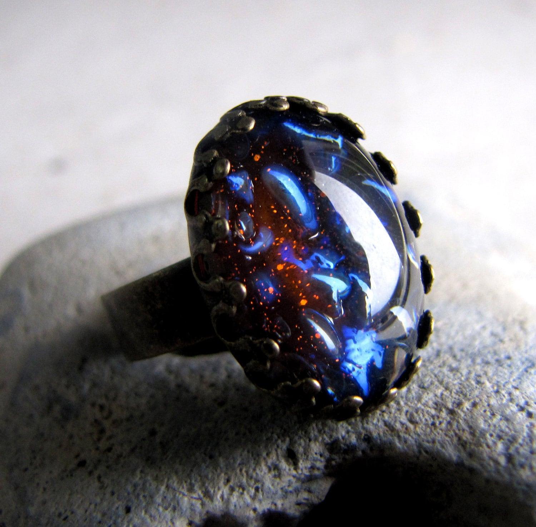 black opal ring vintage glass ring steunk by ashleyspatula