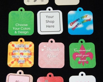 2 inch square custom hang tags