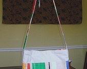 Tan Multi Color Canvas and Cotton Purse Bag