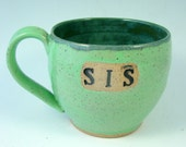 Green Sister Cup / Handmade Clay Pottery Wheelthrown Stoneware