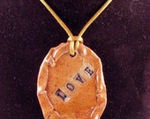 Stoneware Pendant Stamped LOVE - Handmade Ceramic Jewelry - Clay Pottery Pendant - Ready to Ship