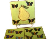 Pear and Butterfly Ceramic Tiles or Coasters / Three Pear and Butterfly / Handmade Clay Pottery / On Sale / Ships Today