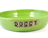 Ceramic Dog Bowl - Handmade Stoneware Clay Pottery Wheel Thrown - Ready to Ship