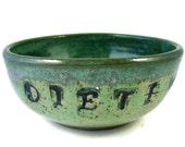 Ceramic Bowl Stamped DIET NO / Handmade Clay Pottery / Wheel Thrown Stoneware