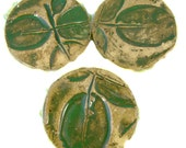Ceramic Buttons - 3 Handmade Green Leaf Buttons with Shank / Stoneware Pottery Sewing Supplies - Ships Today
