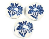 Ceramic Buttons - Three Blue Flower Buttons - Sewing Supplies - Handmade Porcelain Clay Pottery Buttons - Ready to Ship