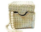 Lidded Box - Cream Blue  /  Ready to Ship Today / Handmade Stoneware Clay Pottery