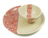 Large Ceramic Platter and Bowl Set - Red Q Dishes - Innovation Symbol - Chip and Dip - Stoneware Clay Pottery - Ready to Ship
