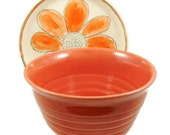 Tangerine Orange Ceramic Bowl - Handmade Stoneware Pottery Bowl - Wheel Thrown Clay Serving Bowl - Ready to Ship