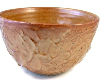 Gold Stoneware Bowl - Textured Bowl - Serving Bowl Holds one Quart - Handmade Ceramic Bowl - Wheel Thrown Clay Pottery - Ships Today
