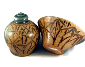 Ceramic Bowl and Urn with Bamboo Design / Handmade Art Pottery - Wheel Thrown Stoneware Clay - Ships Today