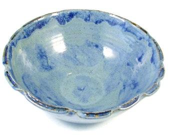 Blue Ceramic Flower Bowl - Handmade Pottery Serving Bowl - Wheel Thrown Stoneware Centerpiece - Ships Today