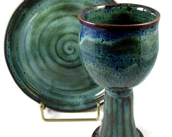 Ceramic Chalice and Paten Set - Custom and Handmade for You -  For Wedding, Communion or  Kiddush Ceremony - Wheel Thrown Stoneware Pottery