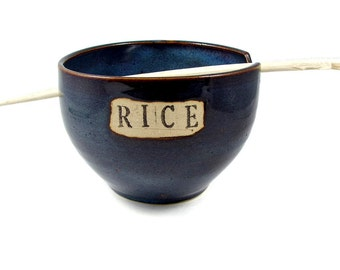 Blue Ceramic Rice or Ramen Bowl with Chopsticks for Rice or Noodles - Stamped RICE - Handmade Bowl - Clay Pottery Dish - Ready to Ship