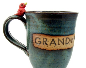 Custom Ceramic Mug with Bird / Customized and Handmade Cup for You - Personalized Wheel Thrown Stoneware Clay Pottery Mug