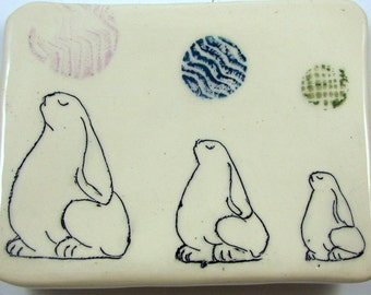 Handmade Bunny Ceramic Square Plate or Wall Hanging / Great Easter Gift / Three Rabbits with an Attitude / Whimsy / Ships Today