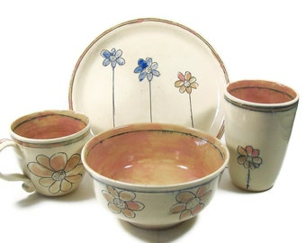 Ceramic Dinerware - Three Piece Breakfast - Pottery Lunch Set - Flower Garden Bowl Plate and Tumbler - Stoneware Clay Pottery - Ships Today