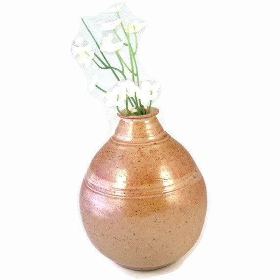 Classic Gold Stoneware Vase / Handmade Wheel Thrown Ceramic Clay Pottery
