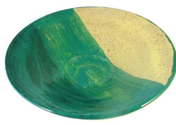 Ceramic Bowl in Shades of Green - Ring Bowl - Trinket Dish - Handmade Pottery Bowl - Wheel Thrown Stoneware Bowl - Clay Bowl - Ships Today