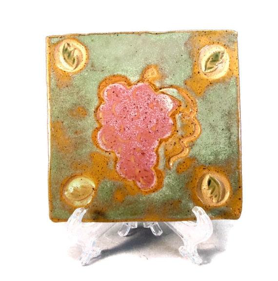 Grape Handmade Tile or Coaster / Handmade Ceramic Stoneware Clay Pottery - On Sale