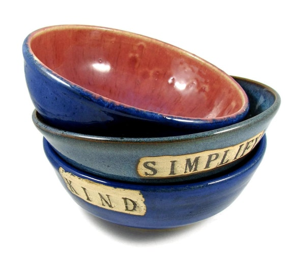 Ceramic Engraved Custom Bowl - Personalized and Handmade for You - Wheel Thrown Stoneware Clay Pottery