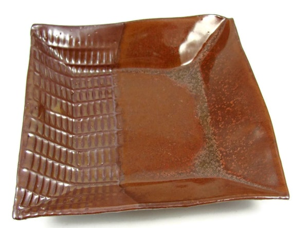 Square Ceramic Plate / Handmade Stoneware Dinnerware / Clay Pottery Dish - Ready to Ship