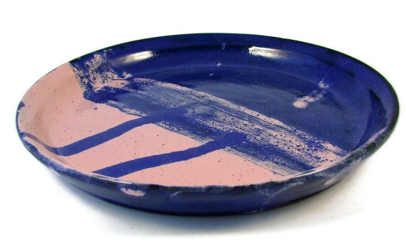 Ceramic Lunch Plate - Pink and Blue Dinnerware - Handmade Clay Dish - Wheel Thrown Stoneware Pottery - Ready to Ship