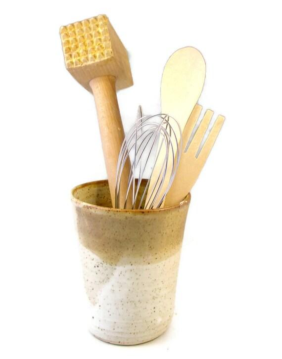 Utensil Holder - Ceramic Vase - Hand Made Vessel - Stoneware Kitchen Container - Wheel Thrown Pottery