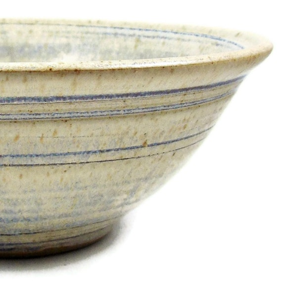 Ceramic Bowl in Cream and Blue / Rustic Cottage Chic / Stoneware Clay Pottery / Ready to Ship