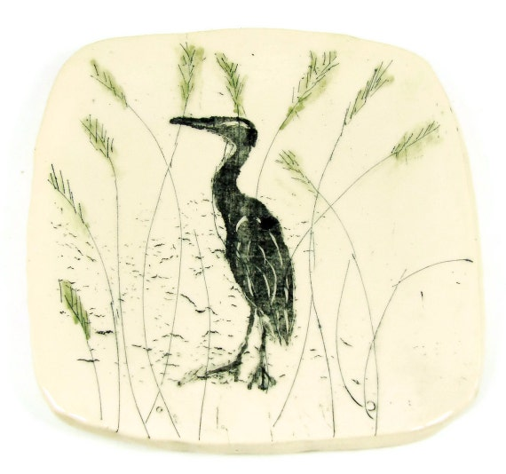 Square Ceramic Plate - Handmade Heron Plate - Ceramic Pottery Soap or Butter Dish - Ready to Ship Today - Mishima Style