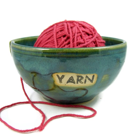 Ceramic Yarn Bowl - Large Green Crochet Holder - Handmade Stoneware Clay Pottery - Wheel Thrown - Ready to Ship